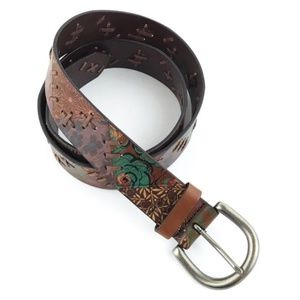 Fossil | Leather Floral Belt Patchwork Boho Stitch